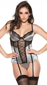 Plus Size Memorizing Metallic Bustier Set - Silver