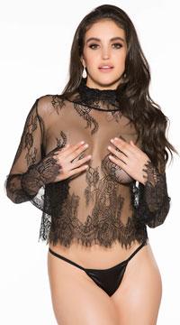 Adore Me Lace Shirt Set - Black