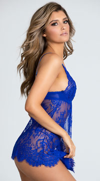 Dream Of Me Lace Babydoll Set - Royal Blue