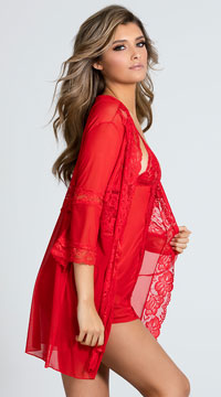 Promiscuous Pegnoir Robe Set - Red