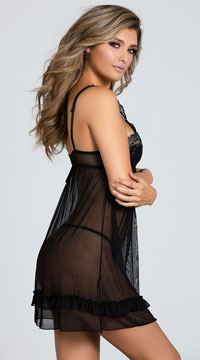Plus Size Bare All Babydoll Set - Black