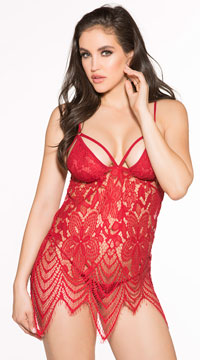 Plus Size Dazzle Me Lace Chemise - as shown