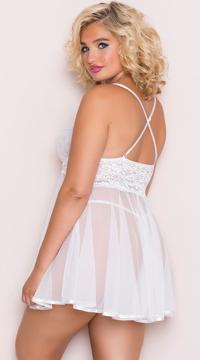 Plus Size Sheer Stretch Lace Babydoll Set - White