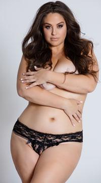 Plus Size Crotchless Panty - Black