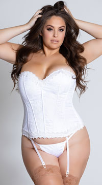 Plus Size Satin and Lace Corset Set - White