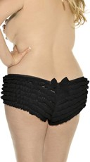 Plus Size Ruffled Mesh Boyshort - Black
