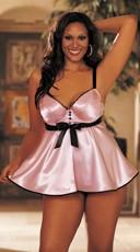 Plus Size Tuxedo Charmeuse Babydoll Set - Pink