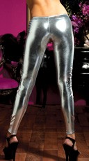 Shiny Stretch Lame Tights - Silver