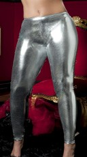 Plus Size Shiny Stretch Lame Tights - Silver