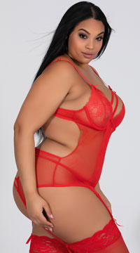 Plus Size Double Dare Merrywidow Set - Red