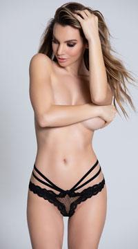 Sexy Strappy Crotchless Panty - Black