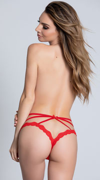 Sexy Strappy Crotchless Panty - Red
