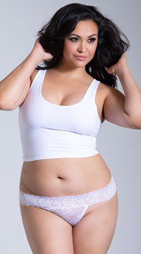 Plus Size Seductive Thong - White