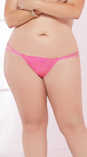 Plus Size Double Strapped Open Back Panty - Hot Pink