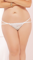 Plus Size Double Strapped Open Back Panty - White