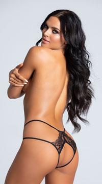 Double Strapped Open Back Panty - Black