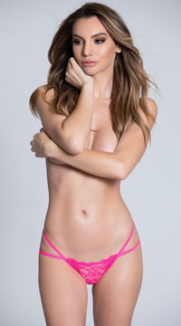 Double Strapped Open Back Panty - Hot Pink