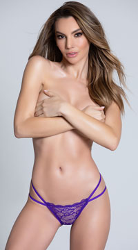 Double Strapped Open Back Panty - Purple