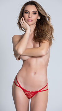 Double Strapped Open Back Panty - Red