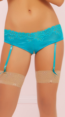 Floral Lace Garter Panty - Turquoise