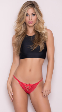 Lace-Up Floral Lace Thong - Red