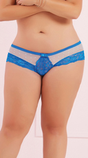 Plus Size Galloon Lace and Dotted Mesh Panty - Blue