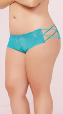 Plus Size Geo Lace Criss-Cross Boyshort Panty - Turquoise