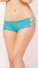 Geo Lace Criss-Cross Boyshort Panty - Turquoise