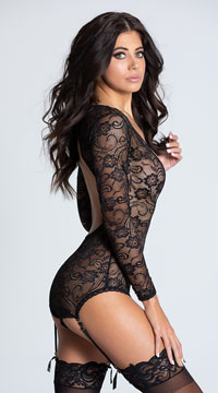 Floral Lace Long Sleeve Teddy - Black