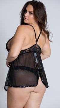 Plus Size Evening Romance Lace and Mesh Babydoll Set - Black