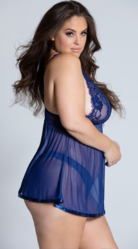 Plus Size Evening Romance Lace and Mesh Babydoll Set - Navy