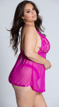 Plus Size Evening Romance Lace and Mesh Babydoll Set - Fuchsia