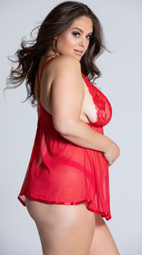 Plus Size Evening Romance Lace and Mesh Babydoll Set - Red