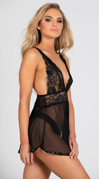 Evening Romance Lace and Mesh Babydoll Set - as shown