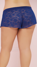 Plus Size Three Piece Knit and Lace Cami Set - Navy