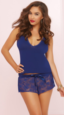 Three Piece Knit And Lace Cami Set - Navy
