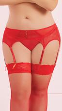 Plus Size Six Strap Garter Belt - Red