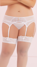 Plus Size Six Strap Garter Belt - White