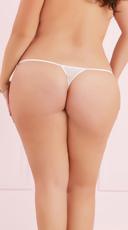 Plus Size Adjustable Mesh Thong - White