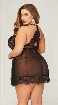 Plus Size Bed of Roses Babydoll Set - Black