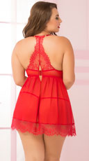 Plus Size Bed of Roses Babydoll Set - Red