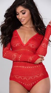 Cozy Sweater Romper - Red