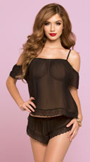 Soft Chiffon and Lace Cami Set - Black