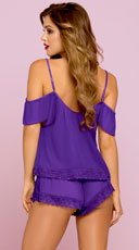 Soft Chiffon and Lace Cami Set - Purple