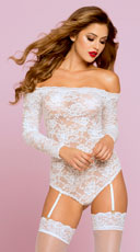 Lacy Off-The-Shoulder Teddy - White
