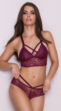 Lace Lattice Bikini Panty - Wine