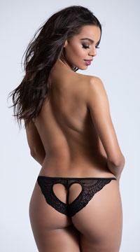Lace Heart Open Crotch Panty - Black