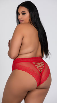 Plus Size Laced Up High Waisted Panty - Red