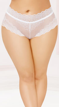 Plus Size Laced Up High Waisted Panty - White