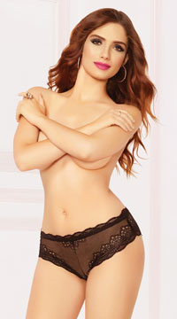 Laced Up High Waisted Panty - Black